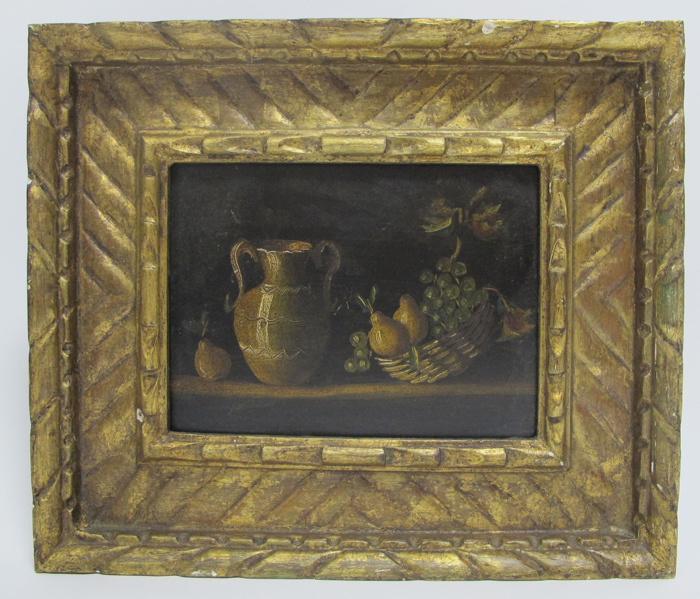 Antique Original Still Life Oil Painting In Gilt Gesso Frame Early